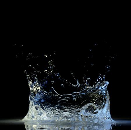 Water splash in black
