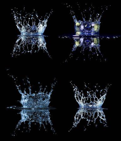 Set Water splash in black Stock Photo