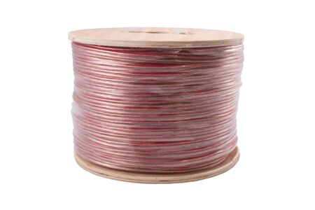 parallel cable of red and black color on white background