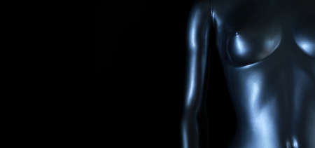 silver mannequin backlight with black background, panoramic format