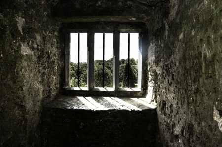 A windowed view at Blarney Castle in Cork, Ireland photo