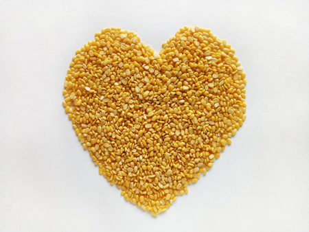 Heart Shape Split Mung Bean Natural and Healthy Food Stock Photo