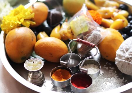 Vat Pornima Indian Festival Worship Dish Imagens