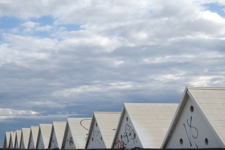 geometric patterns and color. a number of roofs in perspective Stock Photo - 7235645