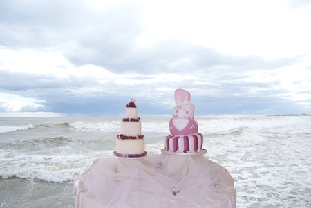 honeymooners: wedding cake in exposition at the sea.