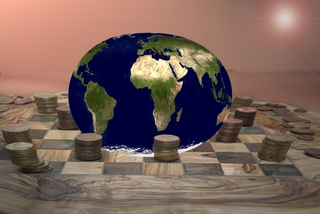 planetarnych: Global economy. Speculation and finance. photographic montage that represents the planetary speculation.