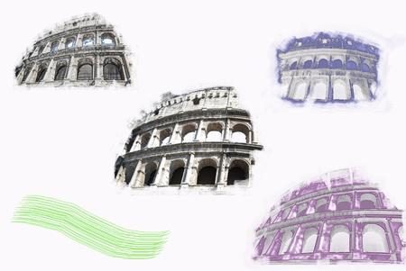 elaboration: Rome. The Colosseum, romanitys symbol.  Artistic graphic elaboration