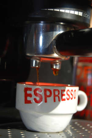 a machine for the preparation of italian coffee photo