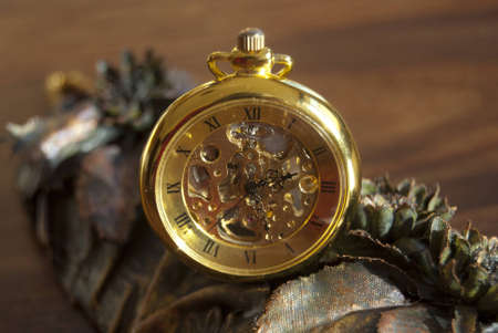 close-up of a old pocket watch photo