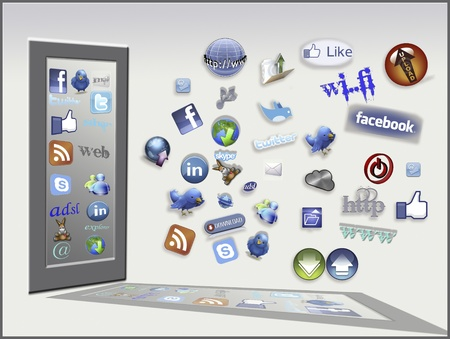 Icons of the web. Conceptual image with some of the most used icons of the web
