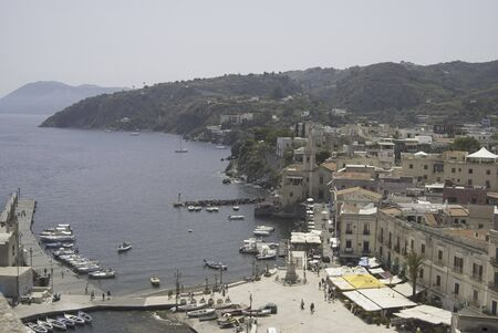 eolian islands: Aeolian islands. The harbour of Lipari with view of the city Stock Photo