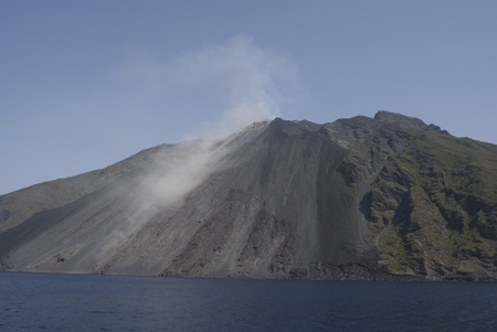 eolian islands: aeolian islands. Stromboli, volcano island of the eolian islands