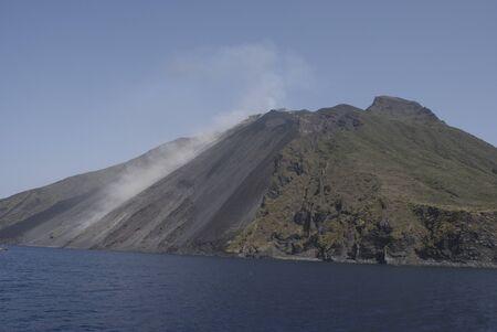 vulcano: aeolian islands. Stromboli, volcano island of the eolian islands