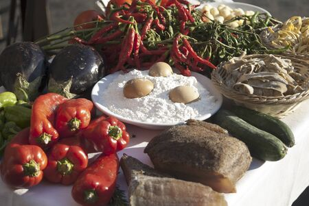 Italian food. composition of food and vegetables photo