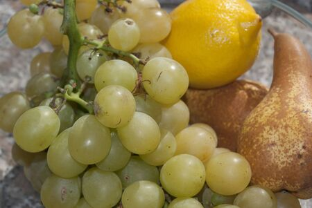 Food and diet: Italian delicacies. pecorino with grapes photo