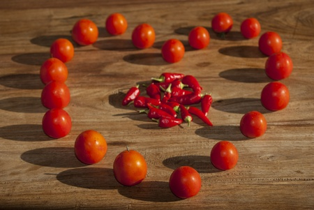 radicals: health at the table: conceptual image to describe the wellness of the body Stock Photo