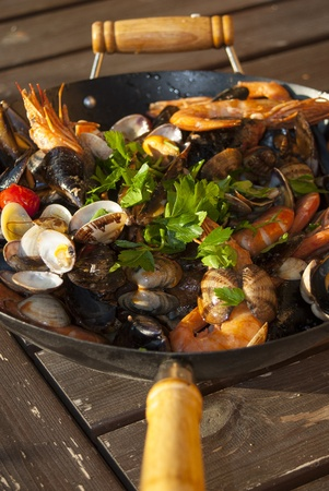 seafood saut, a typical Italian soup with  seafood sauteed in the pan Stock Photo - 17439551