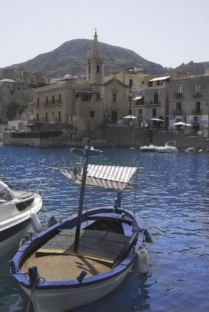 eolie: aeolian islands.Lipari. The harbour and view of the city