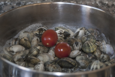 bluefish: clamsin cooking to prepare spaghetti with the clams