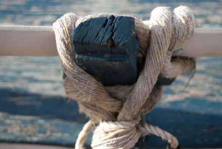 detai: detai of an oar and of a marine rope Stock Photo