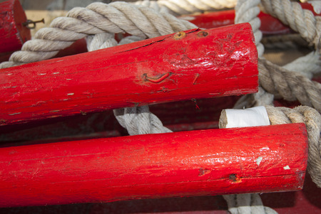 detai: detai of an oar and of a marine rope Stock Photo