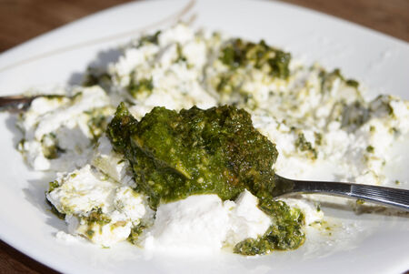stuffing: Stuffing of ricotta and pesto Stock Photo