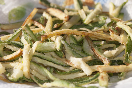 l plate: an ingredient to season the pasta: fried zucchini
