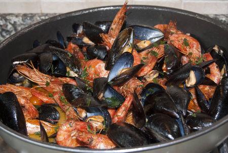 seafruit: Traditional Italian sea dish:sautè of fresh fish