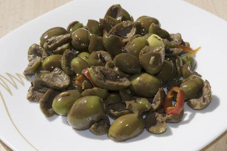 traditinal: traditinal  mediterranean recipes: flattened olives