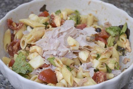 traditinal: traditinal  mediterranean recipe: salad pasta