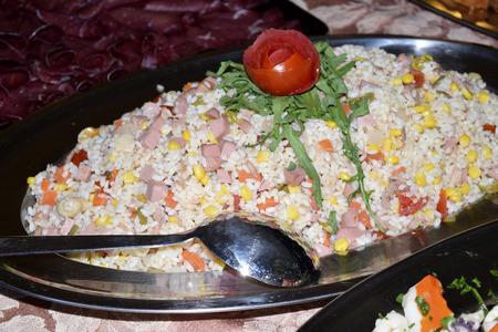 traditinal: traditinal  Italian dish: rice salad with vegetable Stock Photo