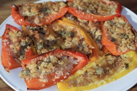 traditinal: traditinal  Italian dish: stuffed peppers Stock Photo