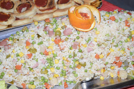 traditinal: traditinal  Italian appetizers:rice salad with vegetables