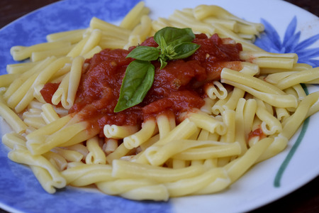 traditinal: traditinal  Italian food:pasta with tomato sauce and basil