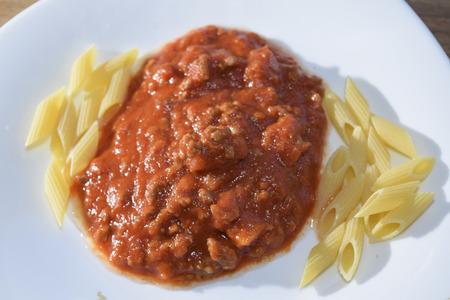traditinal: traditinal  Italian food:pasta at the bolognese ragù Stock Photo