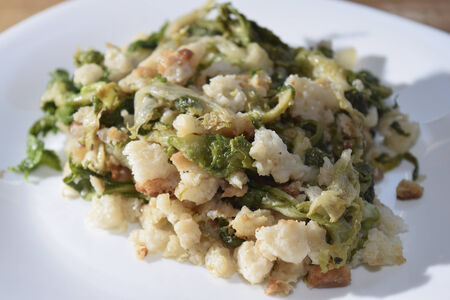 traditinal: traditinal  Italian food:vegetable  with soft part of bread