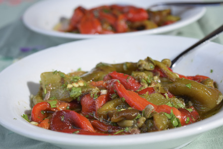 traditinal: traditinal  Italian vegetarian recipe : roasted and grilled peppers Stock Photo