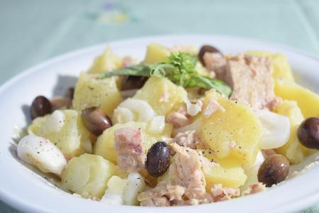 traditinal: traditinal  Italian food:salad patatoes and tuna Stock Photo