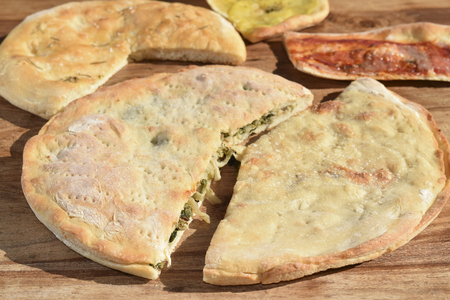 leavening: stuffed pizza with escarole and pine nut
