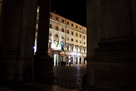 obelisc: Rome. Chigi palace by night. It is the governments building