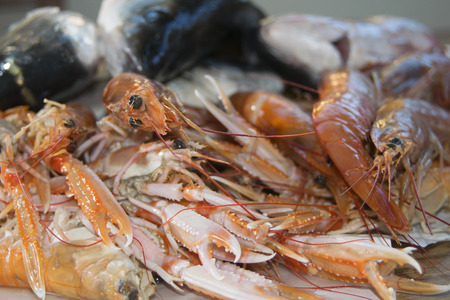bluefish: typical and traditional mediterranean fish: langoustines and prawns Stock Photo