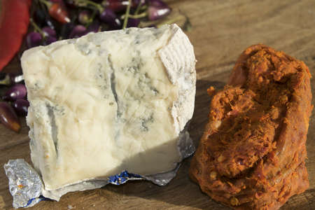 flavors: tasty flavors: two typical Italian products the gorgonzola cheese and the spilinga Ndujia