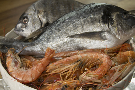 bluefish: typical and traditional mediterranean fish: langoustines , prawns and breams