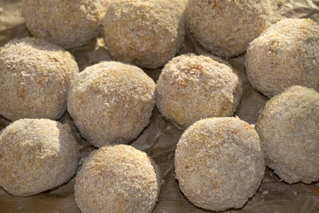 flavours: tasties and flavours  of sicily: fried arancini Stock Photo