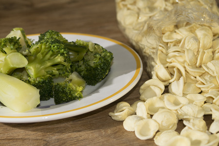 speciality: tasty Italian speciality: orecchiette typical pasta of the Apulia with broccoli