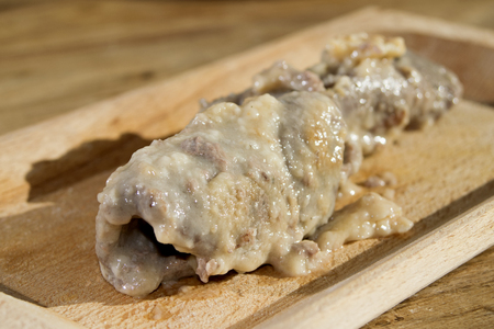 wine sauce: veal roulades with wine sauce and stuffed of cheese Stock Photo