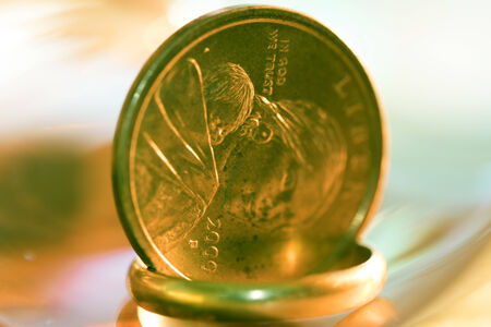monetary concept: concept of  monetary system and wealth with euro and gold ring