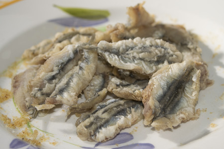 flapjacks: fried anchovy flapjacks with fresh fish of the mediterranean sea