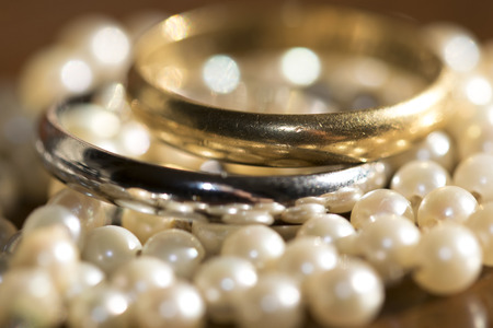 jewellery: beautiful and  old golden rings and pearl necklaces