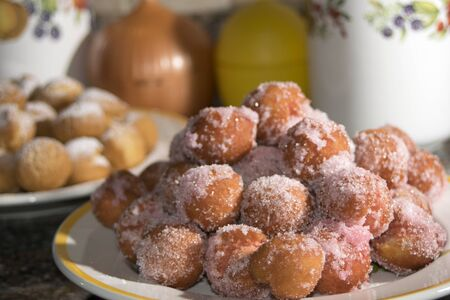 chiacchiere: castagnole a traditional dessert of carnival with sugar and liqueur